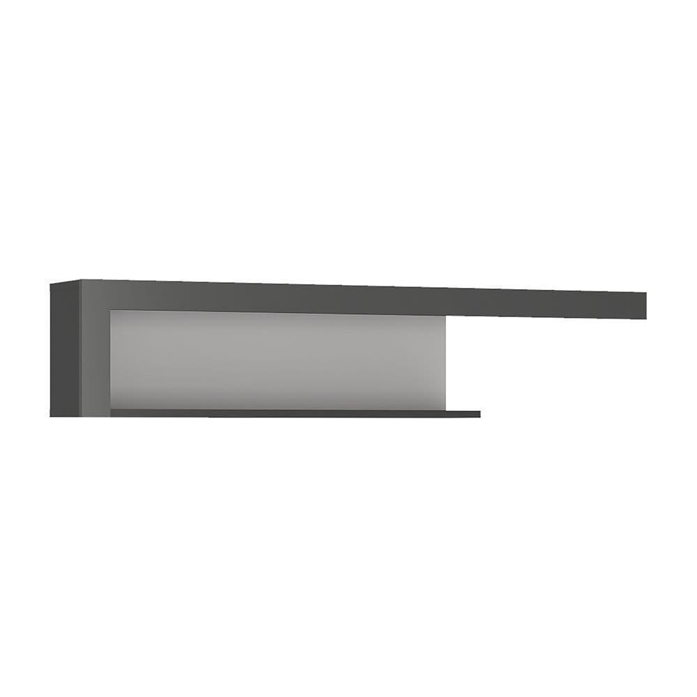 Metropolis 130cm wall shelf in Platinum/light grey gloss